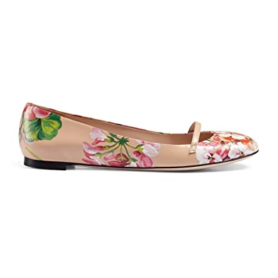 Amazon.com  Gucci Women s Shanghai Blooms Leather Floral Print Ballerina Flats  Shoes f26b9813a9