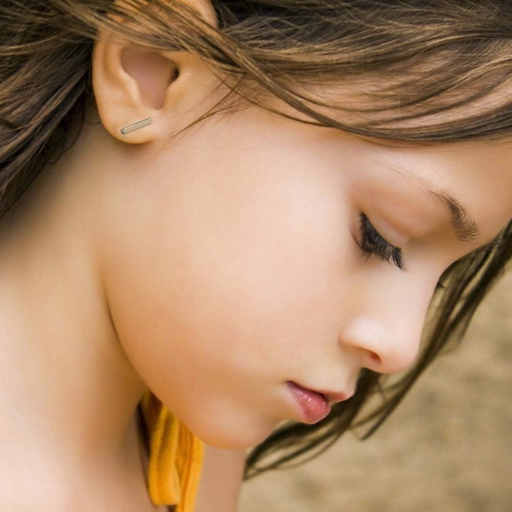 SwirlColor Bar Earrings Silver Stud Cuboid Earrings For Women 4 Pairs T-shaped