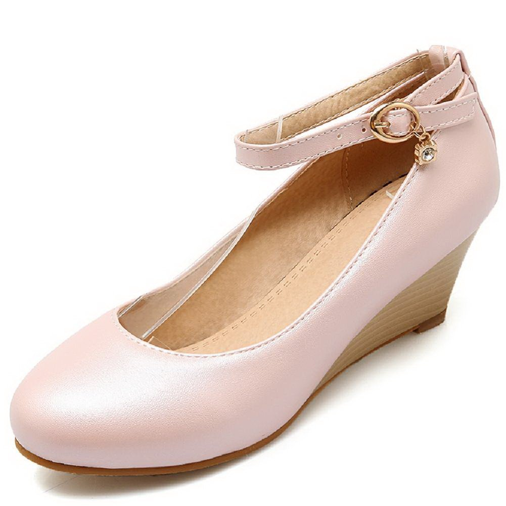 WeenFashion Women's Round Closed Toe Kitten Heels Solid Buckle Pumps-Shoes, Pink, 36