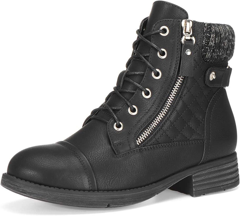 أحذية برقبة عالية للكاحل من الجلد، أحذية الثلوج مقاومة للماء قصيرة للنساء أحذية منتصف الساق أحذية مريحة للسيدات أحذية الشتاء أحذية الشتاء سحاب جانبي منخفض الكعب بأربطة