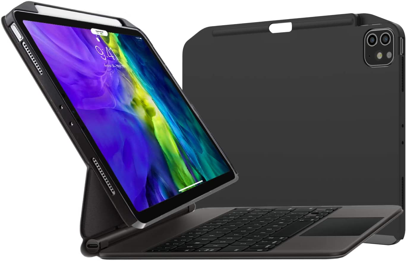 SwitchEasy CoverBuddy [2020 Upgrade] Case for iPad Pro 12.9 Inch 2018 2020, Compatible with Magic Keyboard, Smart Folio, Scratch Resistant, with Pencil Holder [Support Apple Pencil Charging] - Black