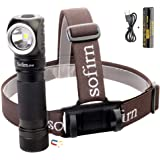 Led Headlamp, Sofirn SP40 Rechargeable 1200 Lumen Bright Head Flashlight with 18650 battery (Inserted), Right Angle…
