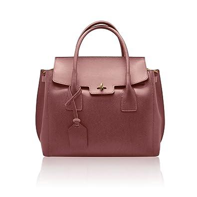 a36872bd4ea AURORA Italian Tote Handbag flap shoulder purse shoulder strap grained  stiff leather