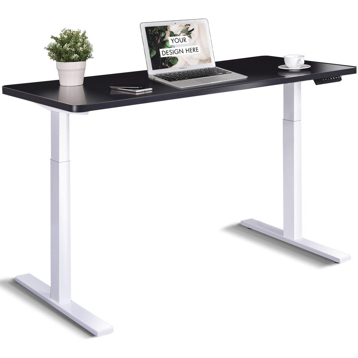 Tangkula Dual Motor Standing Desk Electric Height Adjustable Ergonomic Stand Up Desk Home Office Workstation (Black)