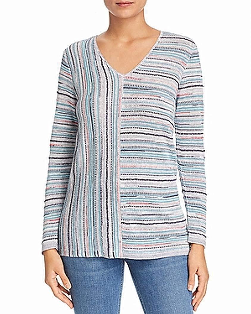 NIC+ZOE Womens Petite Striped Knit V-Neck Sweater Gray PP
