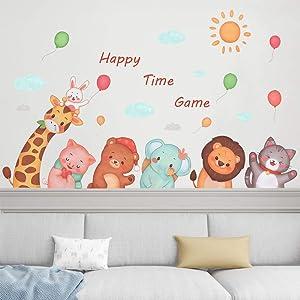 Supzone Jungle Animals Wall Stickers Cartoon Animal Wall Decals Woodland Forest Animal Wall Stickers Giraffe Lion Elephant Bear Balloon Wall Art for Kids Bedroom Playroom Baby Nursery Wall Decor