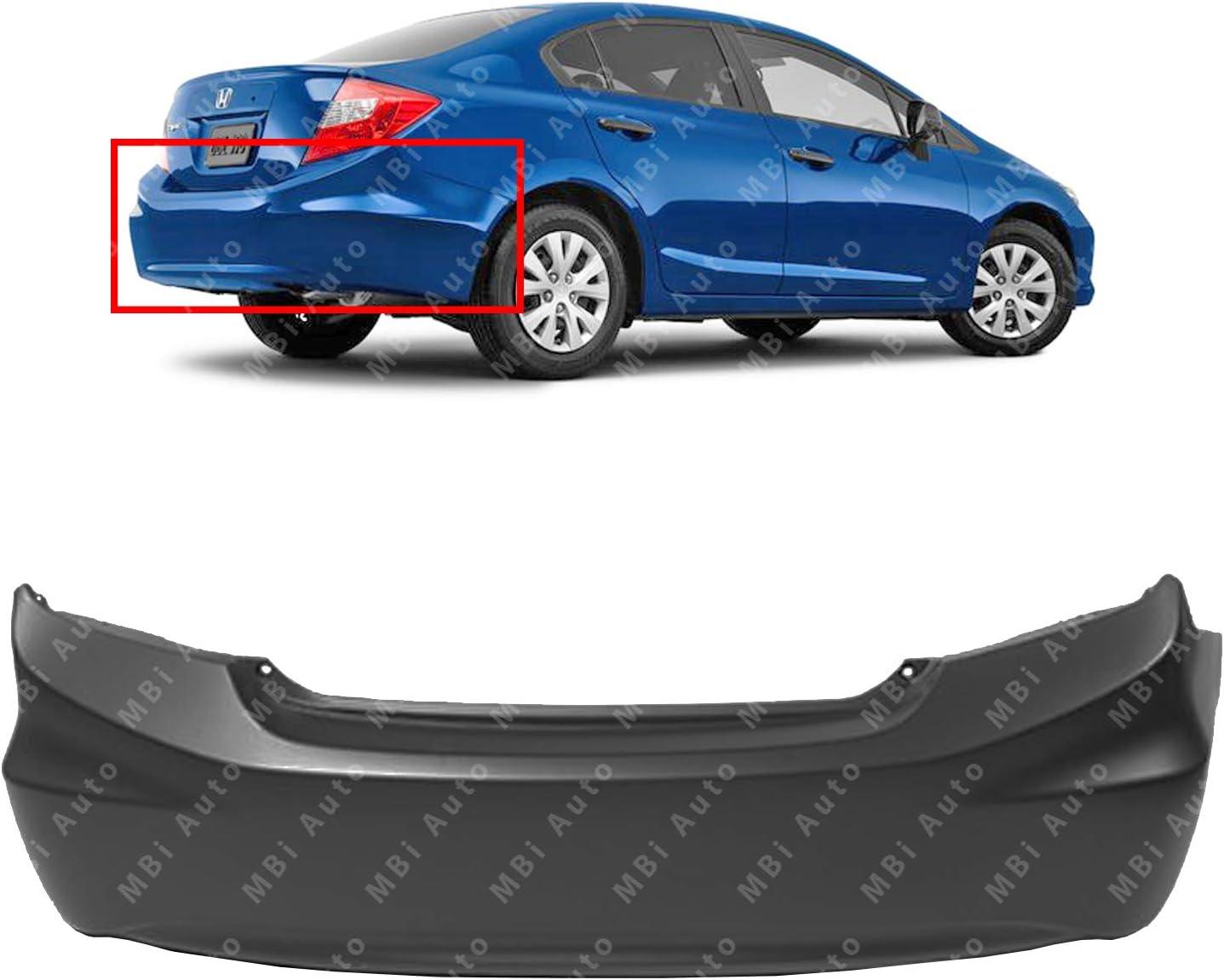 Primered HO1100272 Rear Bumper Cover for 2012 Honda Civic Sedan /& Hybrid 12 MBI AUTO