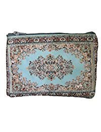 Unique Woman Coin Purse - Card Case - Floral Design - Fabric Oriental Rug (Turquoise)