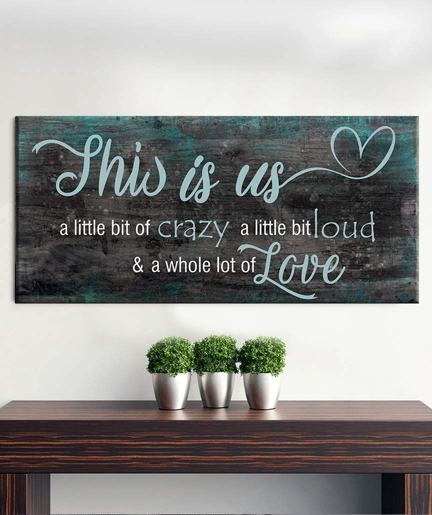 Amazon Com New Sense Of Art Family A Little Bit Of Crazy Whole Lot Of Love Quote V2 Wood Framed Canvas Ready To Hang Wall Art For Home And Bedroom