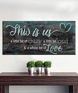 New Sense of Art   Family a Little Bit of Crazy Whole Lot of Love Quote V2   Wood Framed Canvas   Ready to Hang Wall Art for Home and Bedroom Decoration (Dark Teal, 42x19)