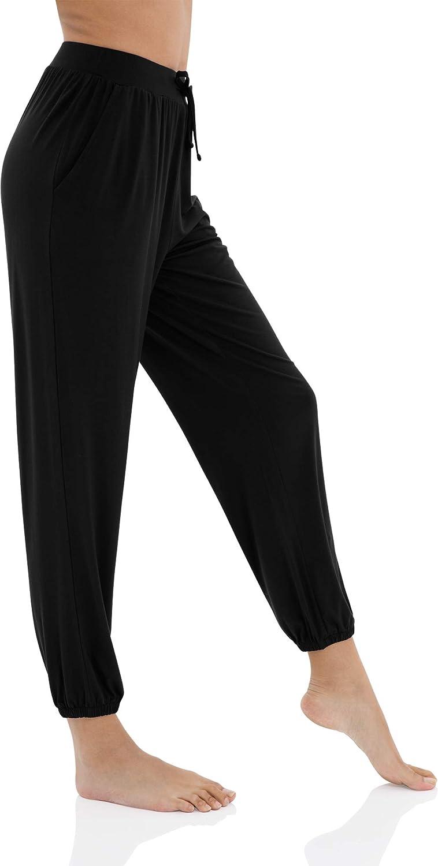 Black WiWi Bamboo Stretch Cozy Drawstring Lounge Jogger Pajama Pants with Pockets for Women SXXXXL(4XL)