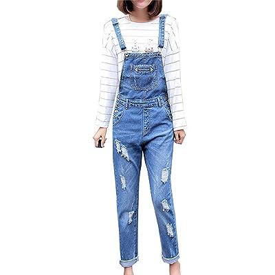Guiran Femme Salopette En Denim Combinaison Casual Trou Déchiré Un Pantalon Jeans Avec Poche