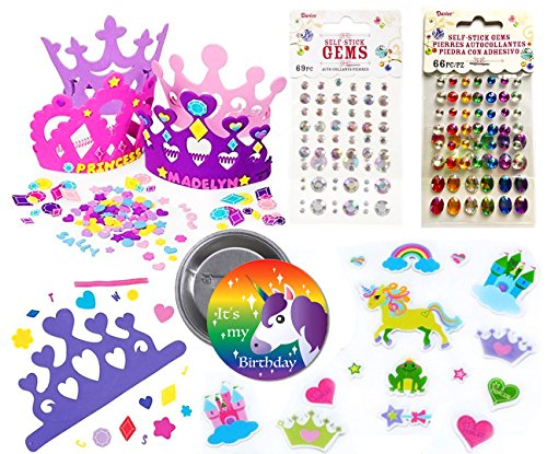 Make Your Own Unicorn Princess Tiara For 12 Children, 12 Foam Tiaras, 102 Foam Princess Stickers, 135 Crystal & Colored Stick on Rhinestones, Princess Theme Party Activity Set and Unicorn Party ()