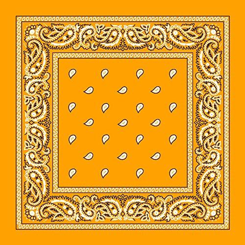 "Large 100% Cotton Paisley Bandanas (22"" x 22"") - Gold Single Piece 22x22 - Use For Handkerchief, Headband, Cowboy Party, Wristband, Head Scarf - Double Sided Print -"