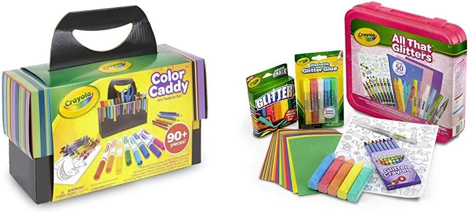 Crayola Color Caddy, Art Set Craft Supplies, Gift for Kids & All That Glitters Art Case Coloring Set, Toys, Gift for Kids Age 5+