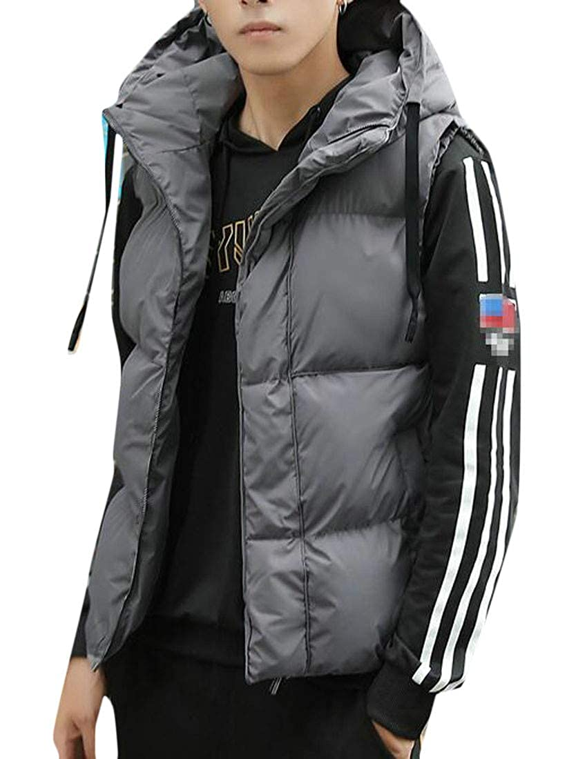 Sweatwater Men Loose Fit Cotton Padded Hooded Puffer Thick Sleeveless Jackets Vest