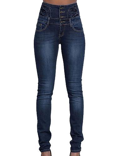 Scothen Polainas de verano Denim Blue Stretch Leggings Vaqueros ajustados apenado cremallera de la cremallera de gran altura Treggings de las mujeres de las señoras pantalones los pantalones