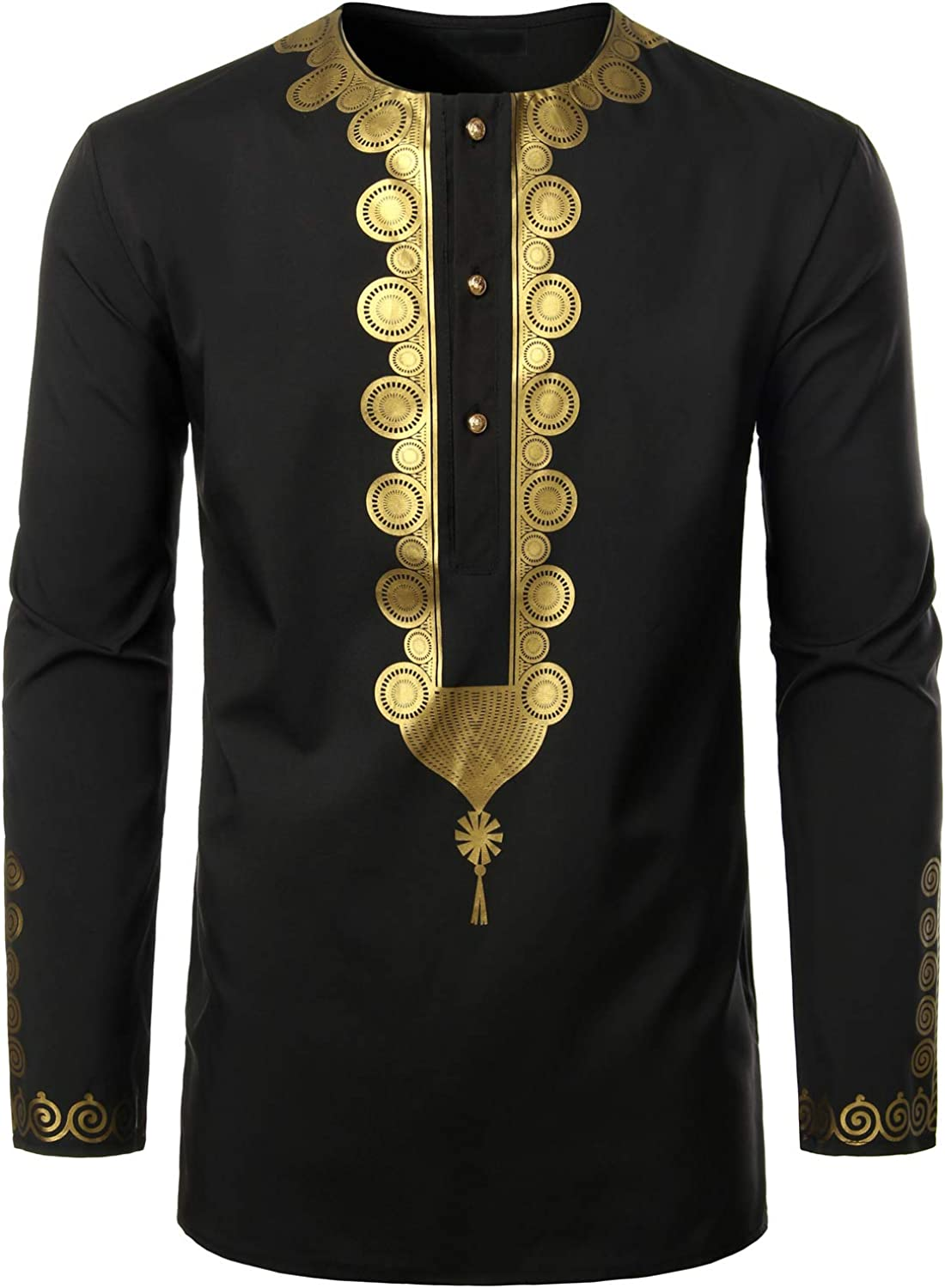 LucMatton Men's Traditional African Luxury Metallic Gold Printed Dashiki Shirt