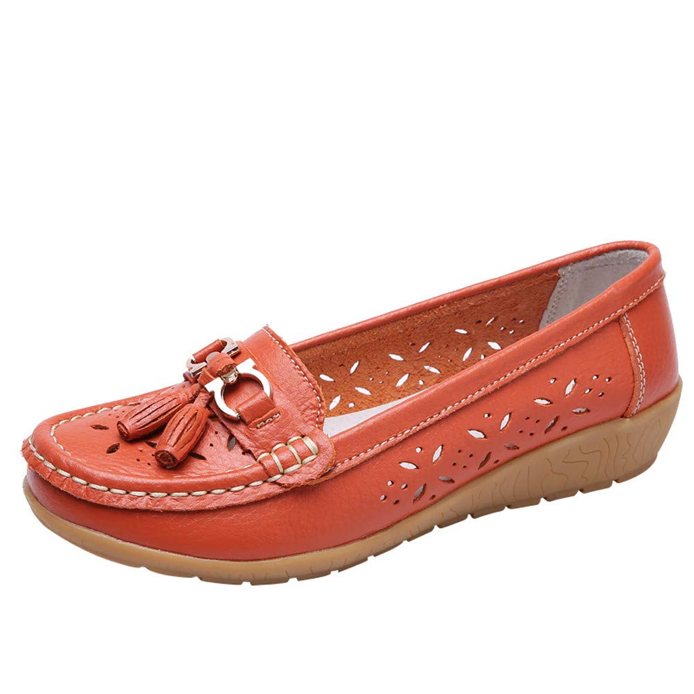 Luckhome Damen Bootsschuhe Leder Loafers Fahren Flache Schuhe Halbschuhe Slippers Erbsenschuhe Frauen Beiläufige Weiche Unterseite Freizeit-Leichte Erbsen-Bootsschuhe Im Freien