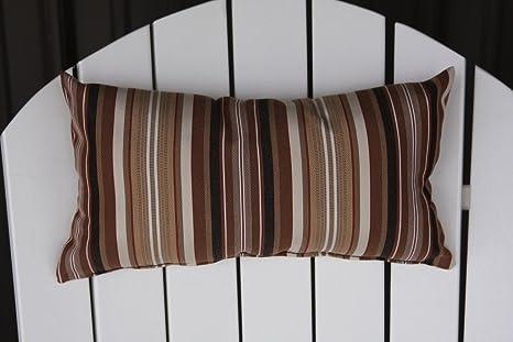 Furniture Barn USA Outdoor Adirondack Chair Head Pillow In Sundown  Material  Maroon Stripe