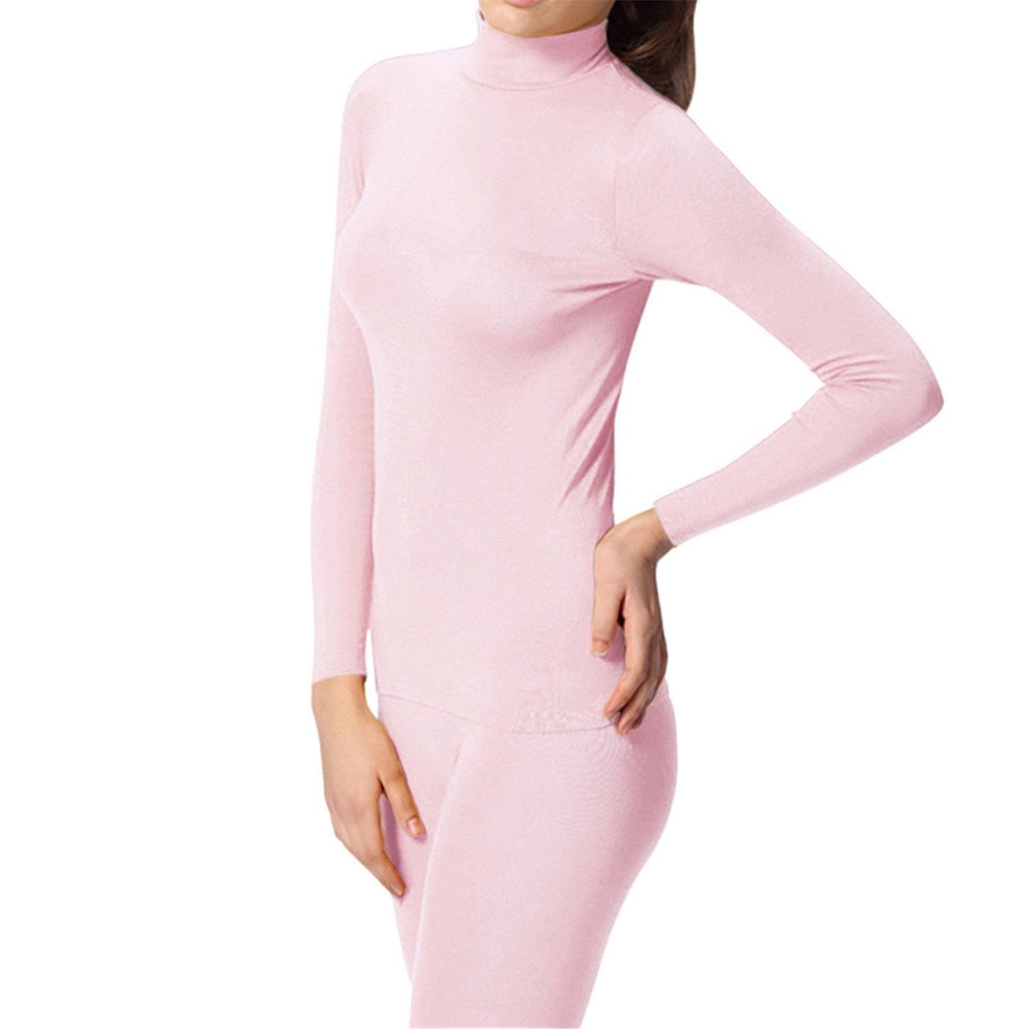 Dapengzhu Spring Autumn Winter Women's Thermal Underwear Long Set High Collar Thermo Underwears Set le Fitness Long 7248 PINK M by Dapengzhu (Image #1)