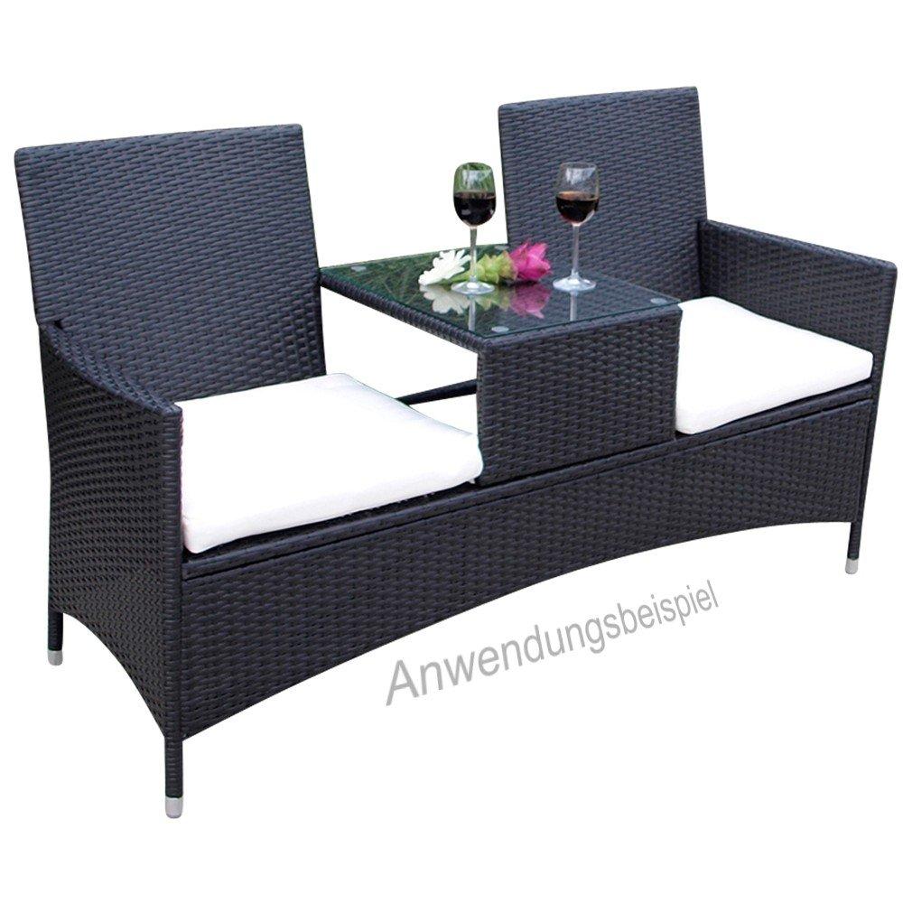 2sitzer gartenbank genua 153x63x87cm polyrattan grau glastisch tete a tete bank g nstig bestellen. Black Bedroom Furniture Sets. Home Design Ideas