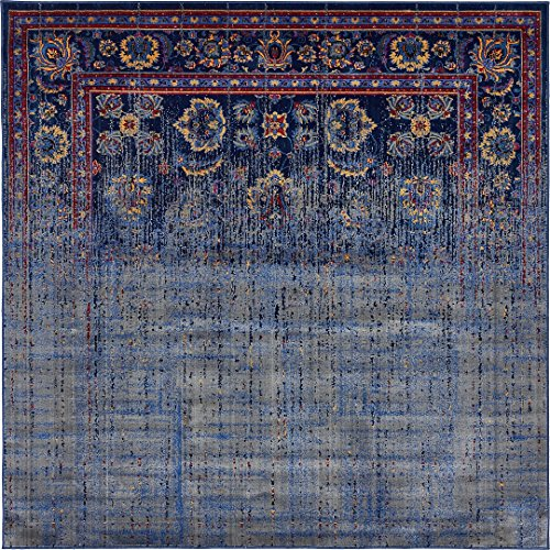 Vintage Contemporary Inspired Overdyed Distressed Rugs Navy Blue 6' x 6' Chelsea Rug Traditional Area Rug Living room Bedroom Dining room Carpet