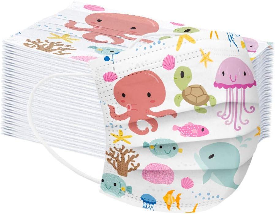 MMMYANG 50 Piezas Niños Protección, 𝐌𝐚𝐬𝐜𝐚𝐫𝐢𝐥𝐥𝐚𝐬, 3 Capas Transpirables con Elástico para Los Oídos para Impresión linda Seguro Suave Transpirable Protección personal diaria