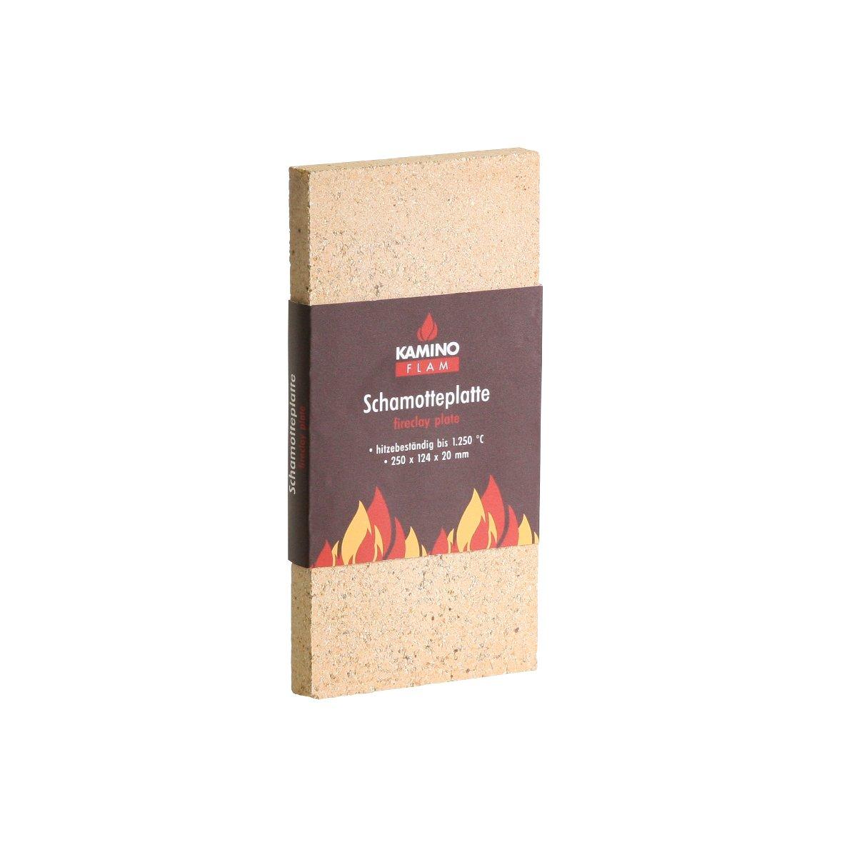 Kamino-Flam – Plancha chamota (25/12,4/2 cm), Placa protectora para chimenea, estufa, horno, Panel aislante, Plancha refractaria, Panel ignífugo – resistente a altas temperaturas hasta 1250°C Kamino - Flam 333301