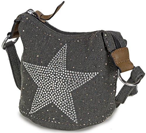 L&S Collection Stern Handtaschen Damen - kleine Umhängetasche - Mini Stern Tasche aus Canvas (16 x 16 x 14 cm) Dunkelgrau Schwarz 3IwXd