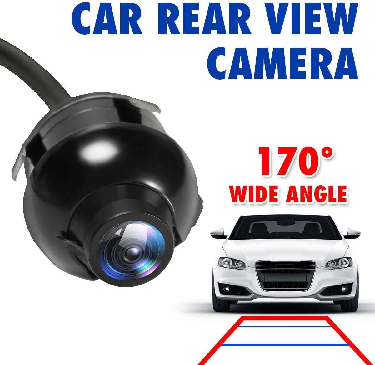 Qiilu 180/° Wide Angle Car Reverse Camera,Fisheyes Lens HD Night Vision Car Font//Rear Backup Camera