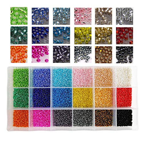 (18000pcs in Box 18 Multicolor Assortment 12/0 Beading Glass Seed Beads Transparent Silver Lined Loose Spacer Mini Crystal Seed Beads,2mm Round, Hole 0.8mm (1000pcs/Color, 18 Colors))