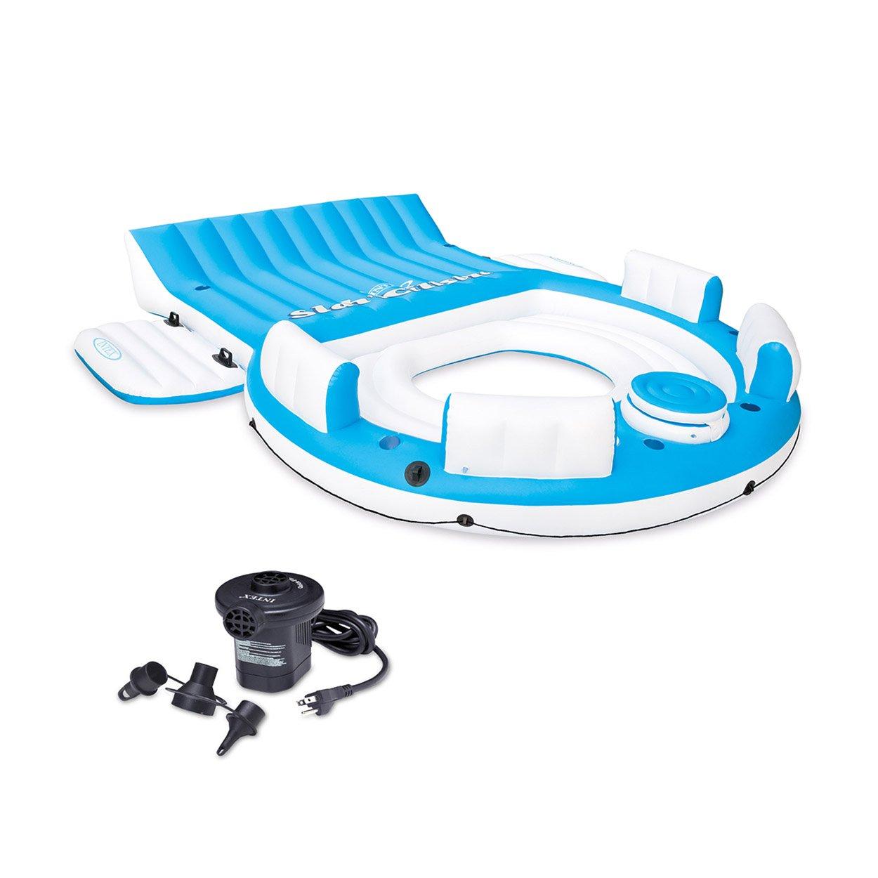 Intex Relaxation Island Raft And Intex AC Electric Air Pump | 56299CA + 66619E by Intex