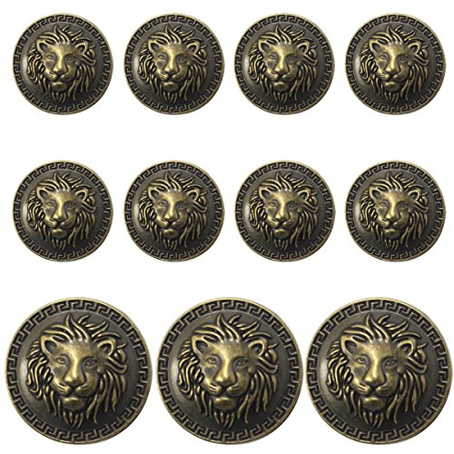 (11 Pieces Bronze Vintage Antique Metal Blazer Button Set - 3D Lion Head - for Blazer, Suits, Sport Coat, Uniform, Jacket )