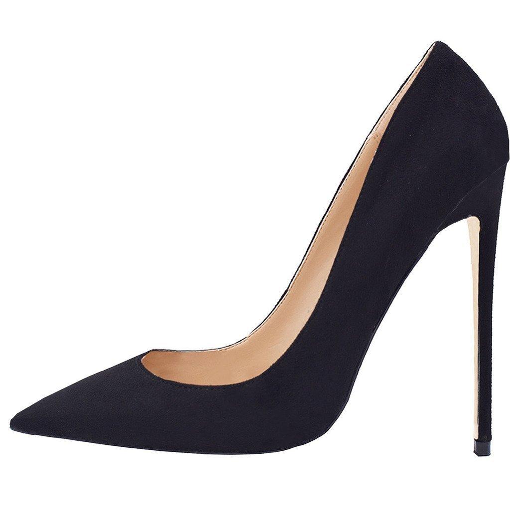 Jushee Damen Sexy Klassische Schwarz Stiletto High Heels Kleid Buuml;ro Pumps43 EU|Schwarz Wildleder