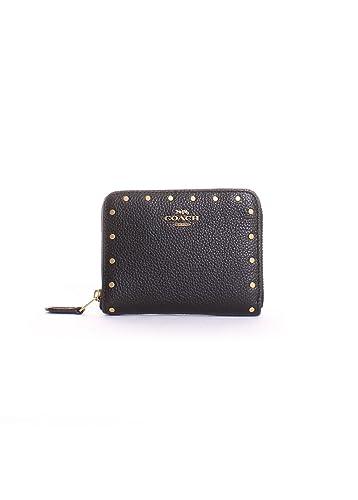 f388e25f0a4e Amazon.com  COACH Women s Small Zip Around with Rivets B4 Black One ...