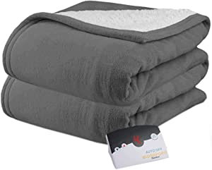 Biddeford 2060-9052140-902 MicroPlush Sherpa Electric Heated Blanket Twin Grey