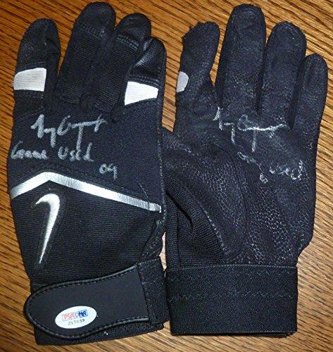 Tony Gwynn Autographed Glove (Tony Gwynn Jr 2009 Signed Game Used Batting Glove Pair COA Padres Auto 5 - PSA/DNA Certified - MLB Autographed Game Used Gloves)