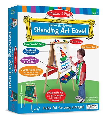 Melissa-Doug-Deluxe-Standing-Art-Easel-Dry-Erase-Board-Chalkboard-Paper-Roller