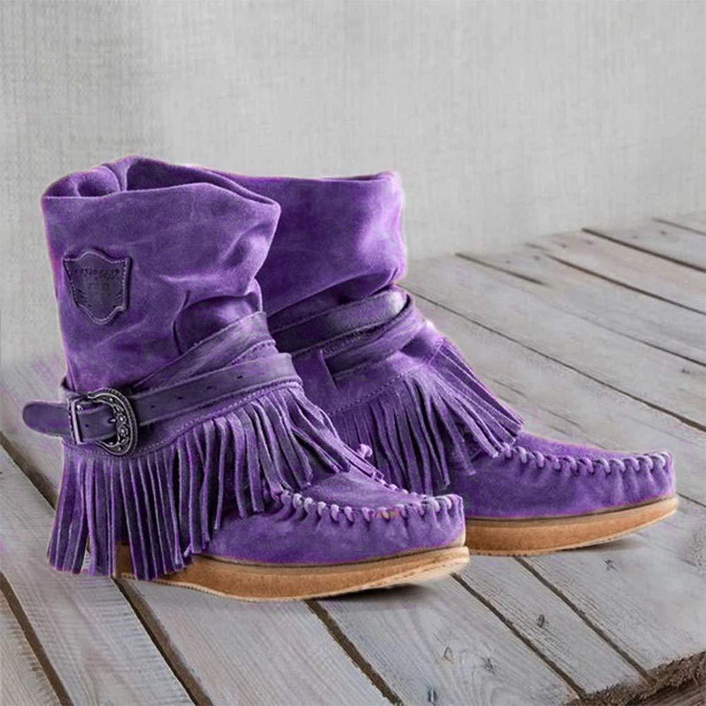 Dihope tac/ón plano botas de nieve estilo informal con flecos - Botas indias para mujer