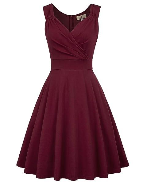 new product 9cbaa 339fb GRACE KARIN Damen Rockabilly Kleid Knielang Vintage Retro Kleider  Faltenrock CL698