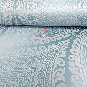 Grandeco Kismet Damask Muster Tapete Metallische Glitzern Motiv Art ...
