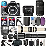 Canon EOS 80D DSLR Camera (Body) + 50mm 1.8 STM Lens + Canon 75-300mm III + 650-1300mm Telephoto Lens + 500mm preset Zoom Lens+ UV-CPL-FLD Filters + Flash + 32GB Kit + Backpack - International Version