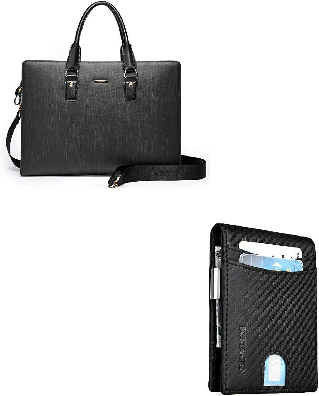 BOSTANTEN Leather Lawyers Briefcase Shoulder Laptop Business Slim Bags for Men & Women Black+BOSTANTEN Leather Wallets for Men Bifold Money Clip Slim Front Pocket RFID Blocking Card Holder Black
