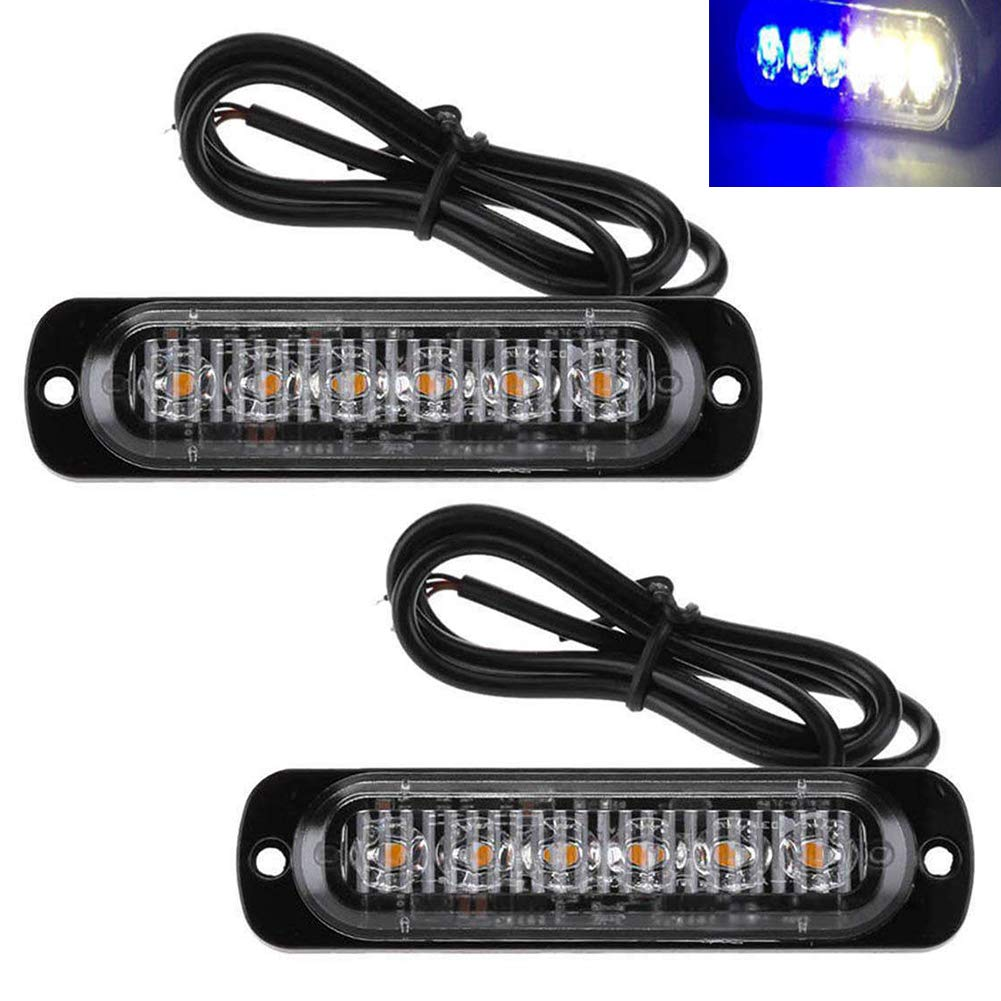 Amber TABEN Car Trucks Strobe Flash Light 6 SMD Warning Lights 18 Modes LED Daytime Running Lights 12-24V