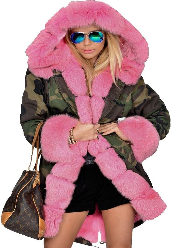 TALLA 38. Roiii - Abrigo con estampado de camuflaje, cálido, forro de piel sintética, con capucha