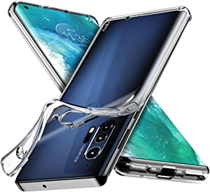 Moto Edge Plus Clear Case, Aeska Ultra [Slim Thin] Flexible Clear TPU [Scratch-Resistant] Gel Rubber Soft Skin Silicone Protective Case Cover for Moto Edge Plus/Motorola Moto Edge+ (Clear)