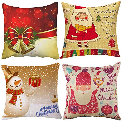 Set of 4 Christmas Pillow Covers 18 x 18, Merry Christmas Series Printing Santa Claus Bird Bell Snowman Decorative Cotton Linen Throw Cushion Covers Pillowcase Indoor Home Décor for Sofa Gift