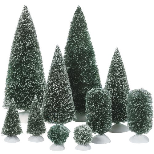 Department 56 Accessories for Villages Bag-O-Frosted Topiaries (Miniature Christmas Tree)