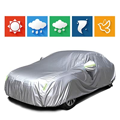 "cciyu Universal Car Cover Waterproof 190T Polyester for Most Cars Up to 228"" All Weather Protection with Mirror Pockets Reflective - Silver Grey: Automotive"